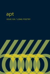 A blue rectangle with six yellow sixes reads apt, issue six, Long Poetry