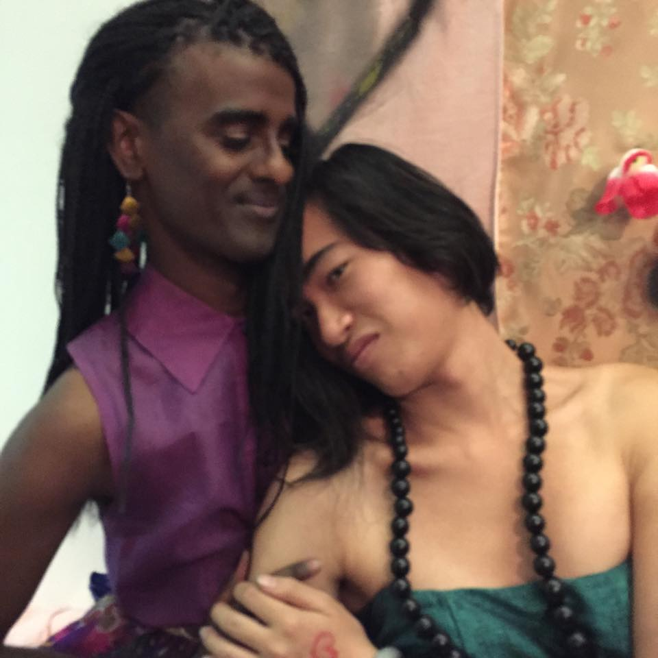 Thom and her wife, artist Kama La Mackeral.