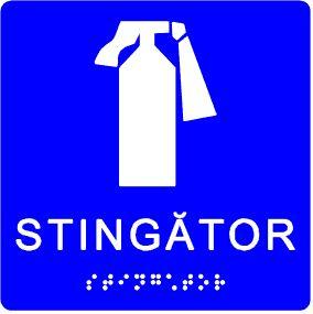 plăcuță tactilă indicator stingător pentru incendiu