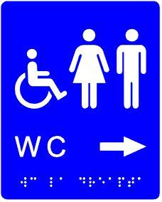 plăcuță tactilă indicator WC accesibil persoane cu dizabilități spre dreapta