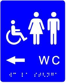plăcuță tactilă indicator WC accesibil persoane cu dizabilități spre stânga