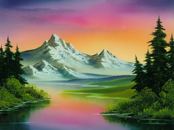 Bob Ross Painting Featured In Presidential Library