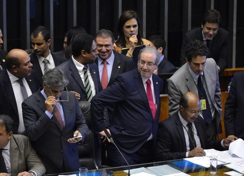 O presidente da Câmara, Eduardo Cunha, durante sessão para votação dos integrantes da comissão especial destinada a dar parecer sobre o pedido de impeachment da presidente Dilma