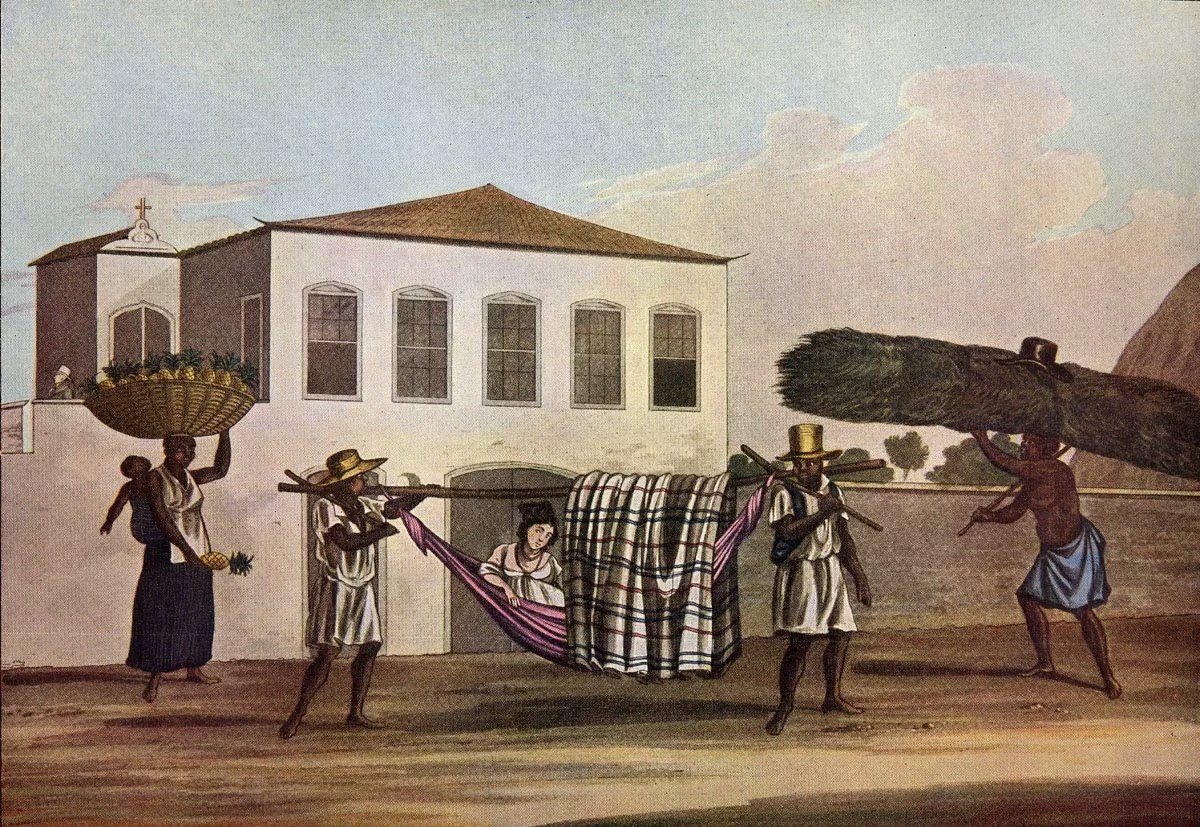 Transportar um Hammock Coberto, Rio de Janeiro, Brasil, 1819-1820, Henry Chamberlain