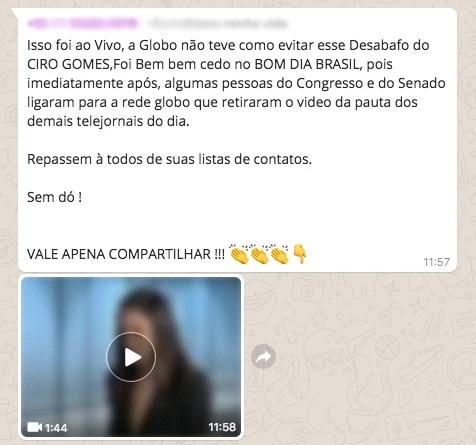 Corrente de WhatsApp afirma que Ciro Gomes (PDT) deu uma entrevista que a Globo tentou esconder