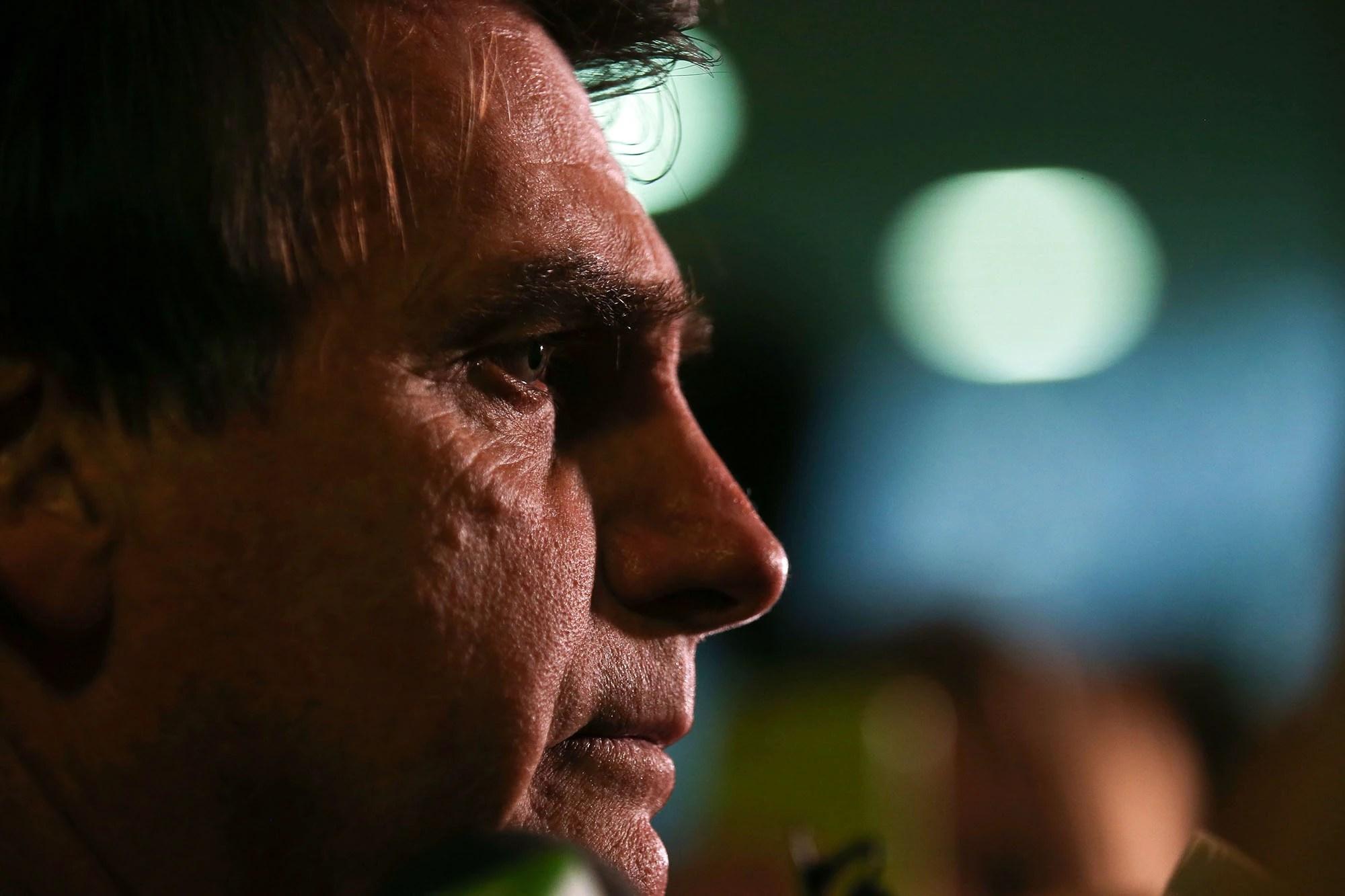O deputado Jair Bolsonaro (PSC-RJ) em entrevista coletiva, em junho