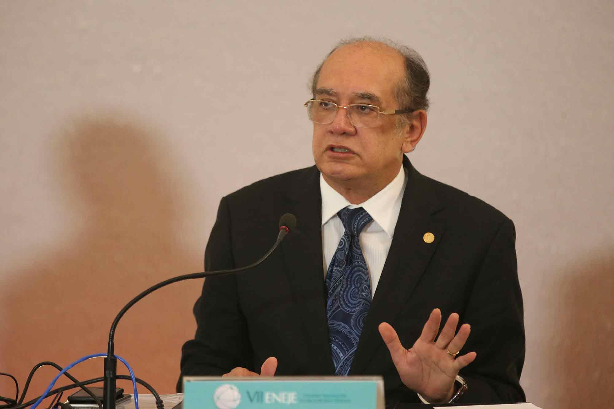 O ministro do STF e presidente do TSE, Gilmar Mendes, no 7º Encontro Nacional das Escolas Judiciárias Eleitorais
