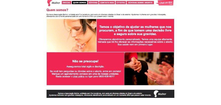 """Na aba """"quem somos"""" está escrito que a associação ajuda mulheres com gravidez indesejada"""