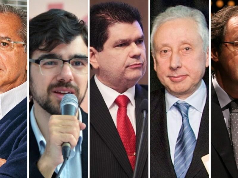 Economistas ligados aos candidatos à Presidência: Paulo Guedes, Guilherme Mello, Mauro Benevides, Pérsio Arida e Eduardo Giannetti (da esq. para a dir.)