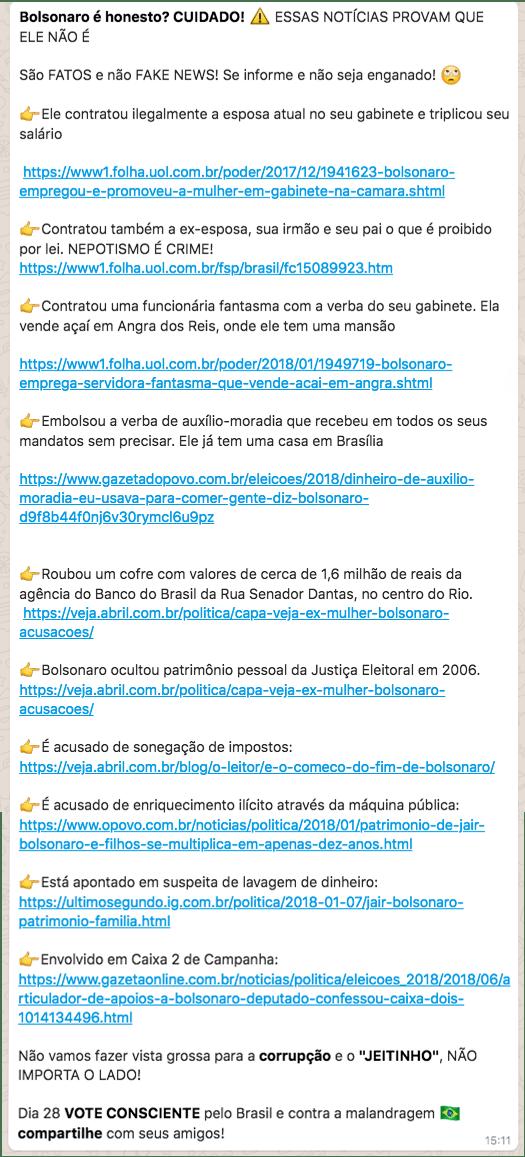 Corrente com acusações contra Bolsonaro, que circula no WhatsApp