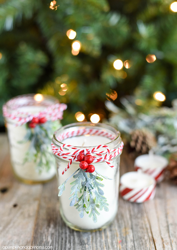 DIY Peppermint Mason Jar Candles | mason jar gift ideas