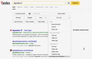 Buscador Yandex - Filtros