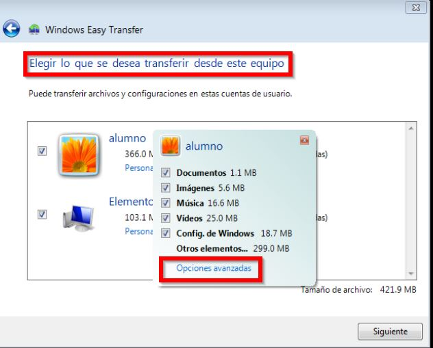 Elegir archivos a transferir