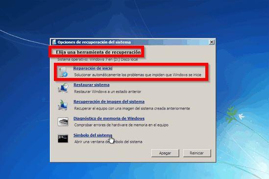 Reparación de inicio windows 7