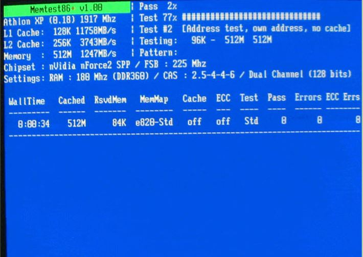 Test-PC-Ram-with-MemTest86+