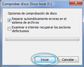 Utilizacion de comando chkdsk en windows