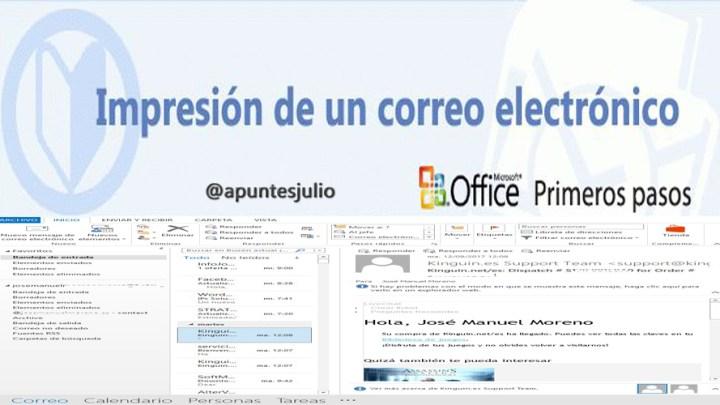 Impresión de un correo electrónico en Outlook