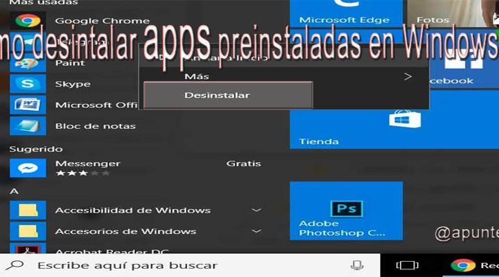 Cómo desinstalar apps preinstaladas en Windows 10