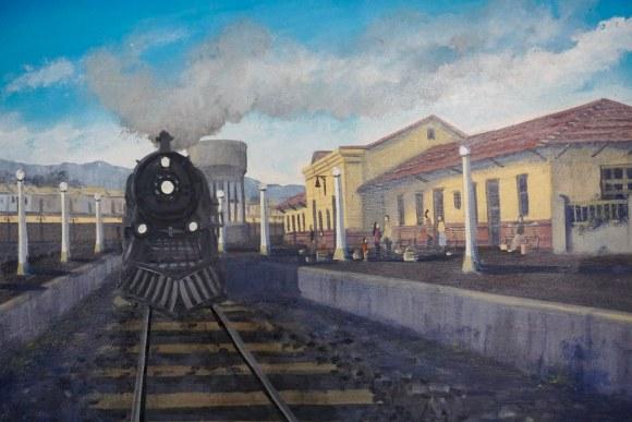 Pintura de la antigua estación ferroviaria de Ovalle, hoy Museo del Limarí