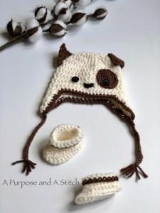 Baby Pup Hat & Booties