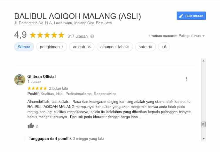 Google Review Balibul Aqiqoh Malang