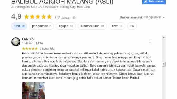 Google Review Balibul Aqiqoh Malang