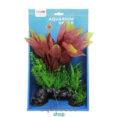 Купить Искусственное растение Yusee Листовые растения на скале 18x9x30см в Киеве с доставкой по Украине