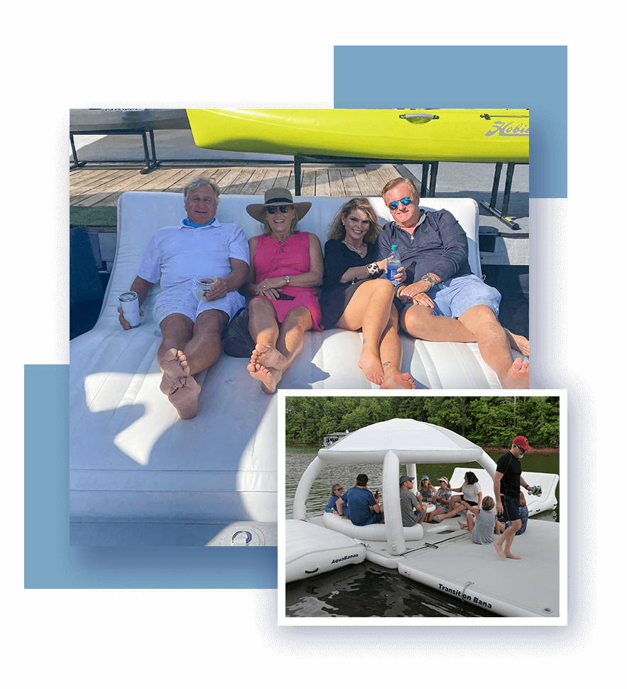 AquaBanas-inflatable-platforms-and-yacht-dock-in-stock.-Lady-relaxing-having-fun-with-inflatable-superyacht-toys-that-pump-up-the-funair-custom-superyacht-inflatable-slides,-swimming-