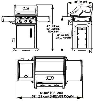 NAPOLEON ROGUE® 365 WITH RANGE SIDE BURNER GAS GRILL