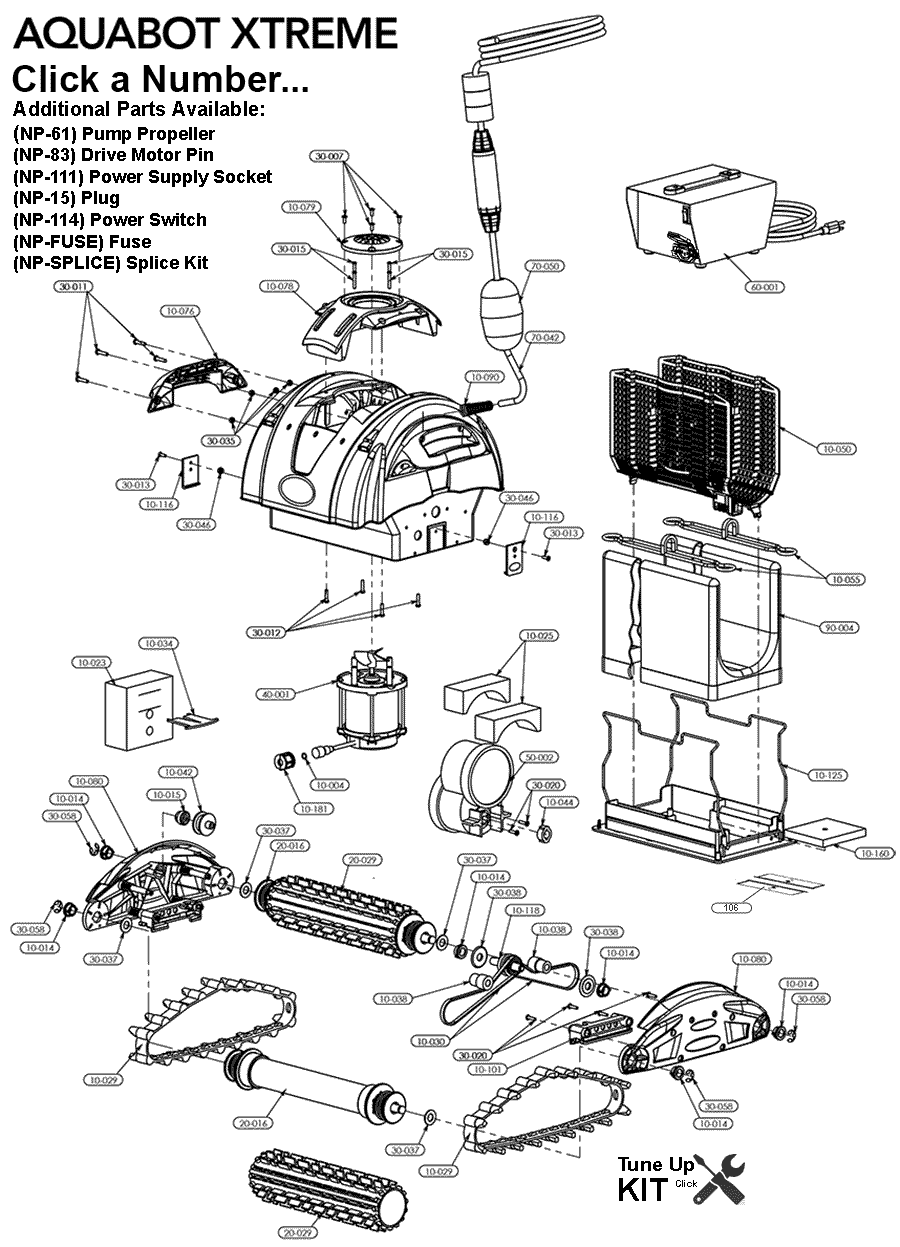 Parts for Aquabot Xtreme. Easy Point and Click Ordering