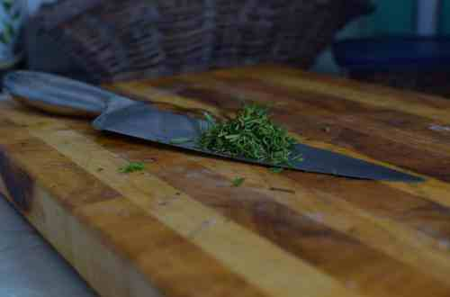 knife with herbs