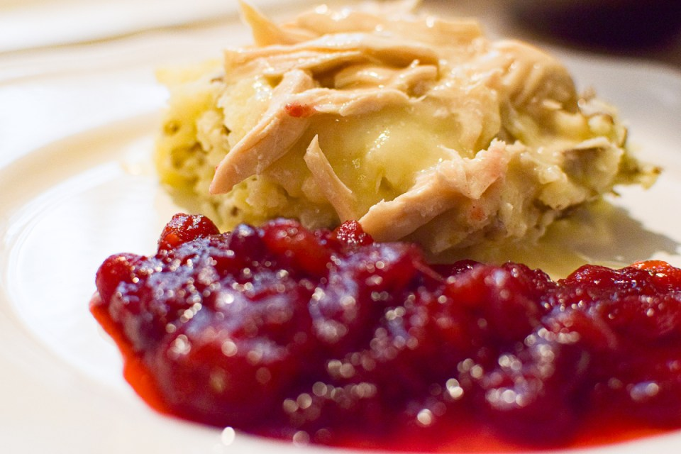 shredded chicken and cranberry sauce