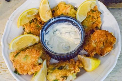 shrimp cakes on a white platter