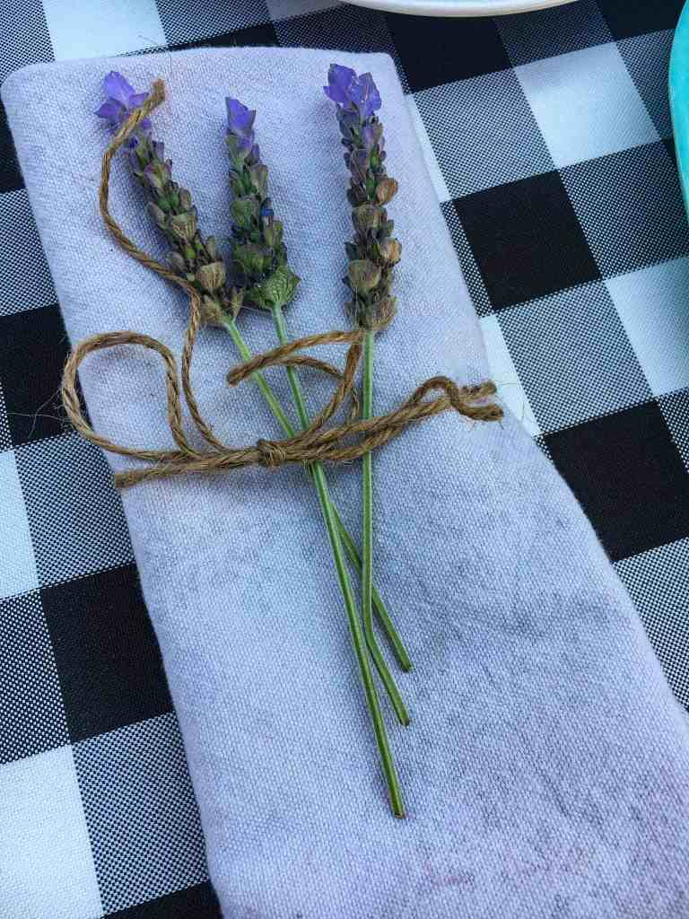 napkin with lavender and twine tied to it