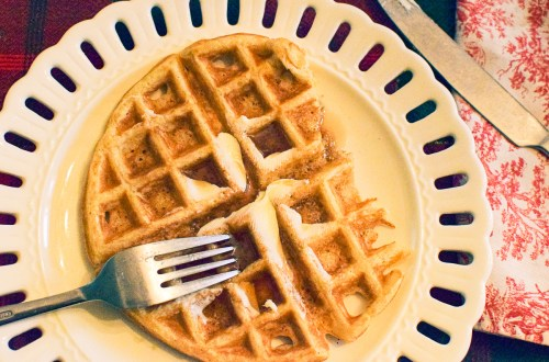 sourdough waffle on a white plate