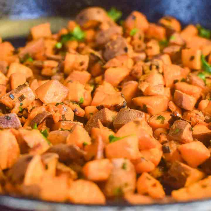 sweet potato hash diced in a skillet