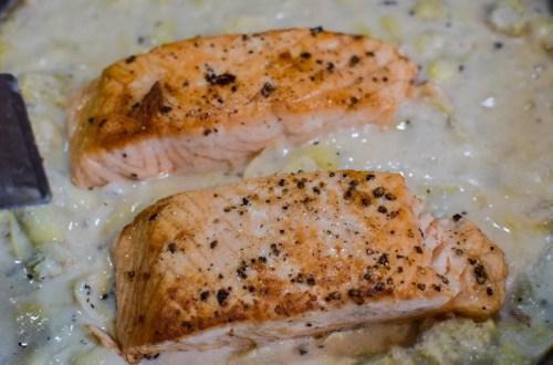 salmon artichoke cream sauce