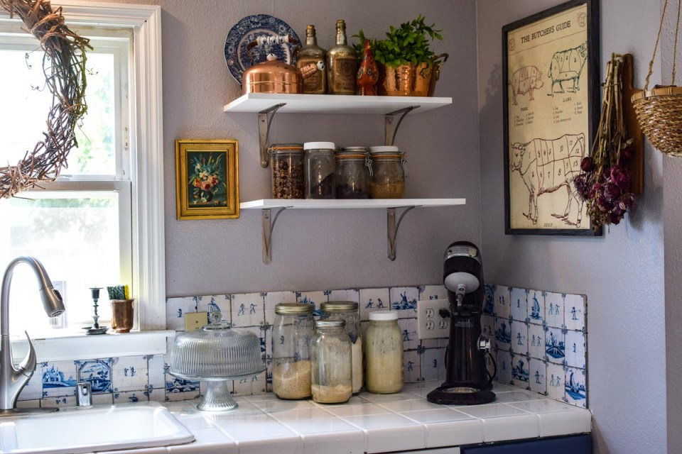 ways to create a french or old world look with color in a blue kitchen