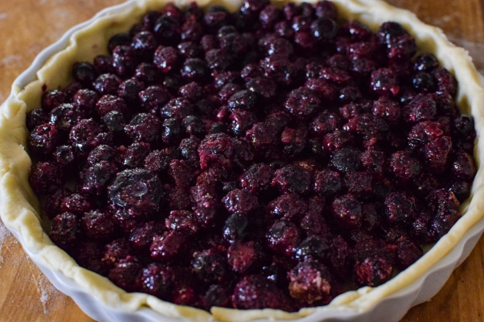 blueberry tart ready for the oven