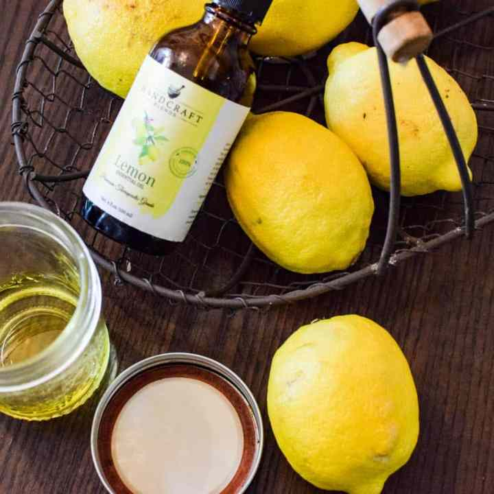 essential oil and lemons for an all natural wood cleaner