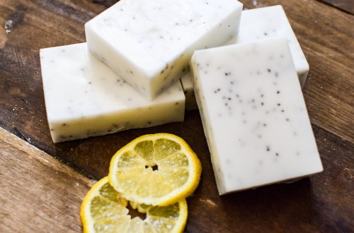 homemade lemon chia soap bars