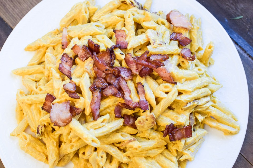 pumpkin and bacon pasta on a platter