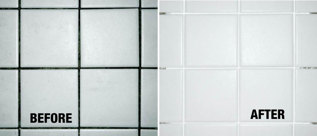 black grout coated with aqua mix white