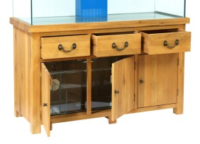 AQ150PS Plank Oak Systemised Aquarium Doors and Drawers Open