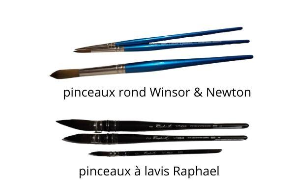 choisir son matériel pour débuter l'aquarelle sereinement - pinceaux à lavis - pinceaux ronds winsor & newton cotman