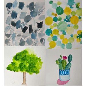 Mes premières réalisations à l'aquarelle en suivant le livre de Jenna Rainey (sur papier cellulose)