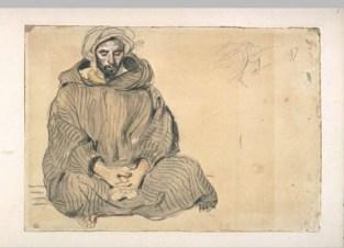 Delacroix Eugène, Arabe assis en tailleur, de face, aquarelle - crayon noir - sanguine - rehauts de blanc, H. 00,192 m ; L. 00,274 m, s.d © Musée du Louvre, Département des Arts graphiques