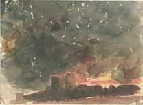 Eugène Delacroix (1798-1863), Etude pour les murailles de la ville infernale de Dité, Aquarelle, 13, 9 x 19 cm, Musée du Louvre, Département des Arts Graphiques, Paris