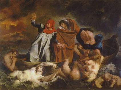 Eugène DELACROIX, Dante et Virgile aux enfers, dit aussi La Barque de Dante, Huile sur toile, H. : 1,89 m. ; L. : 2,41 m., Salon de 1822