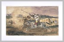 Delacroix Eugène, Fantasia arabe devant Mequinez, 1832? aquarelle et mine de plomb, Département des arts graphiques du Musée du Louvre, Paris © Réunion des musées nationaux - Base Joconde
